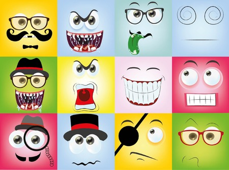 facial painting: Set of cartoon faces with different emotions