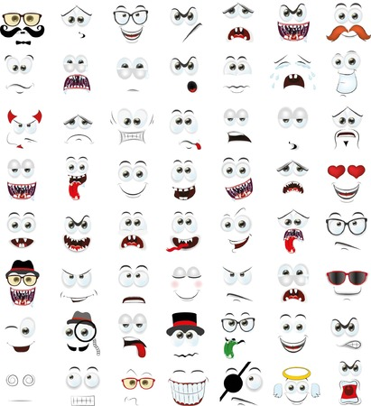 smile faces: Set of cartoon faces with different emotions