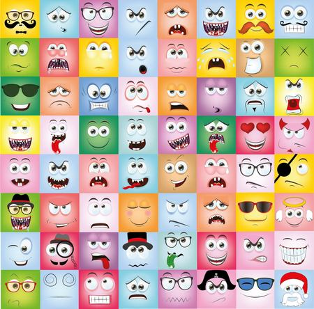 funny glasses: Set of cartoon faces with different emotions
