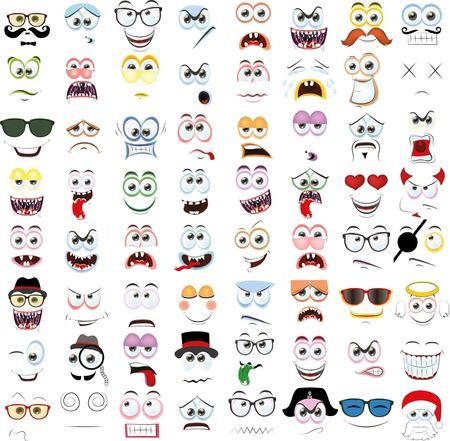 gestos de la cara: Conjunto de caras de dibujos animados con diferentes emociones