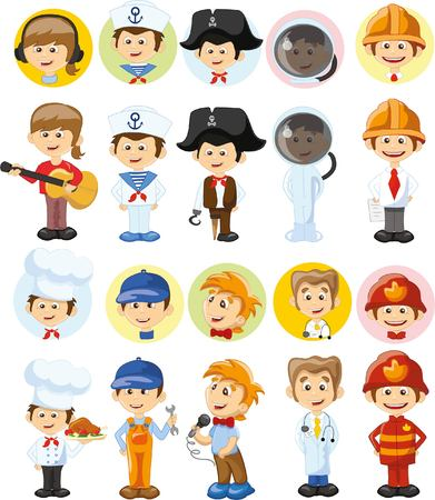 Cartoon characters of different professions