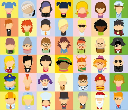 men and women: Set of cute character avatar icons in flat design Illustration