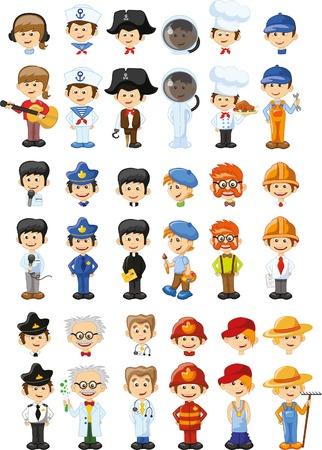 blonde: Set of vector cute character avatar icons Illustration