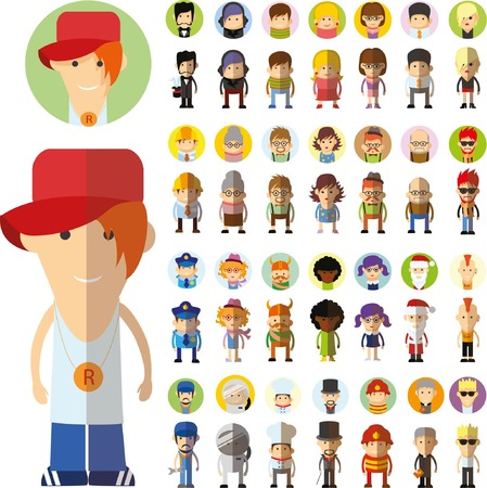 Set of vector cute character avatar icons in flat design Banco de Imagens - 46905267