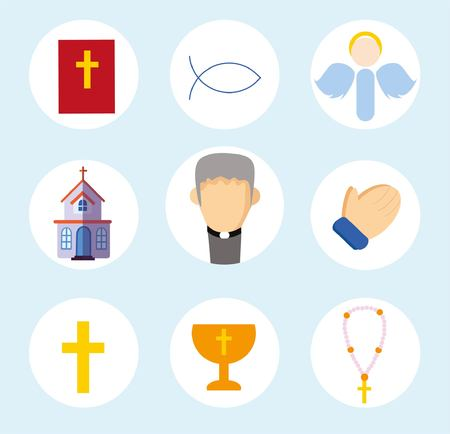 abbey: Religion icons vector flat set