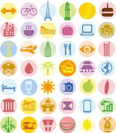 Big set of travel icons in flat style Ilustracja