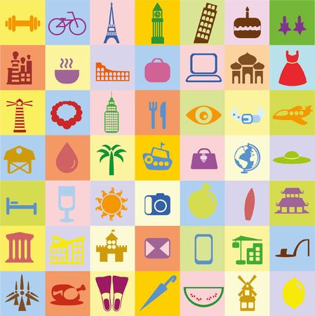 Big set of travel icons in flat style  イラスト・ベクター素材