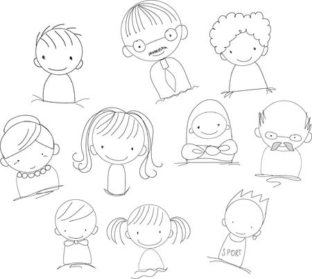Vector childrens doodle of happy family Ilustrace