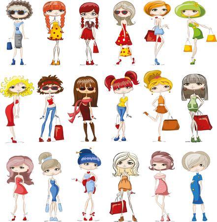 to spend the summer: Fashion cartoon girls Illustration