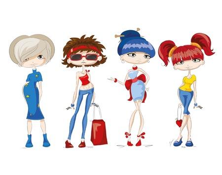 sexy teenage girl: Fashion cartoon girls Illustration