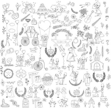 wedding bride: Doodle wedding set for invitation cards