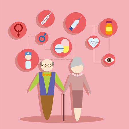 personas saludables: Concept flat icons set of family and health