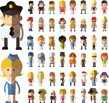 character design: Set of vector cute character avatar icons in flat design