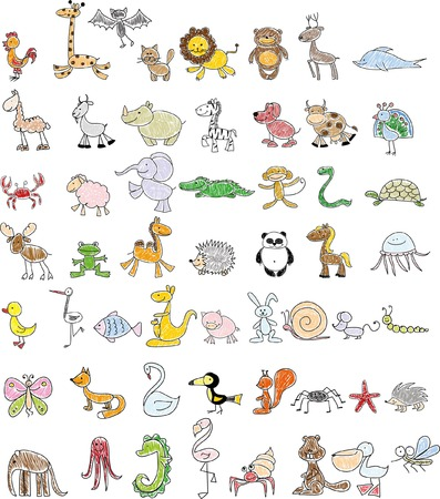 Children's drawings of animals Illustration