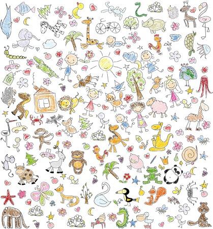 escuela infantil: Dibujos de los niños de la familia del doodle, animales, personas