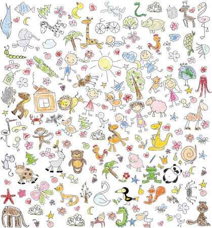 Childrens drawings of doodle family, animals, people