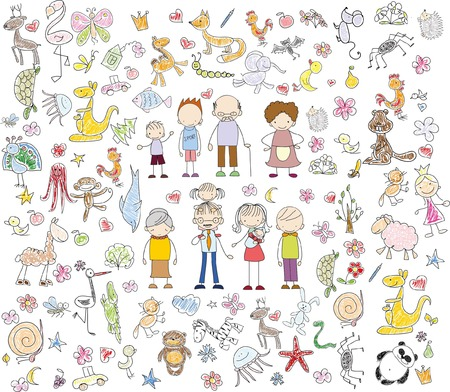 Children's drawings of doodle family, animals, people