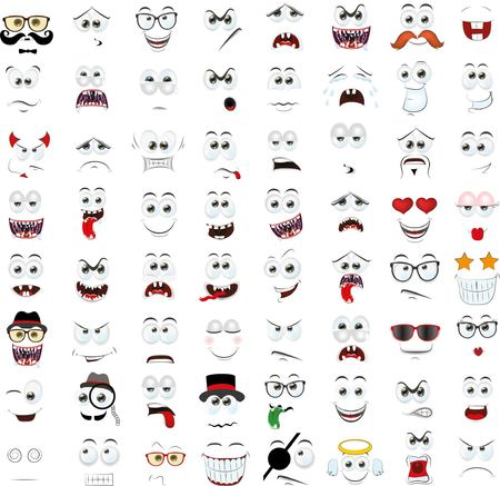 humor glasses: Set of cartoon faces with different emotions