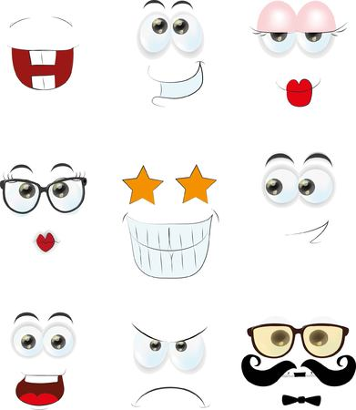to laugh: Set of cartoon faces with different emotions