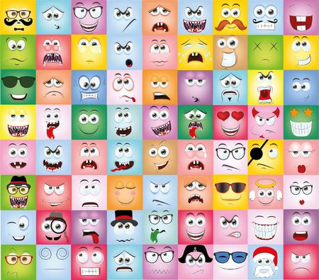 emo��es: Set of cartoon faces with different emotions