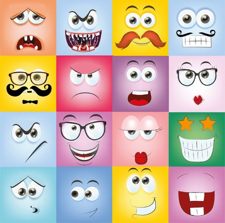 visage: Ensemble de bande dessinée face avec différentes émotions Illustration