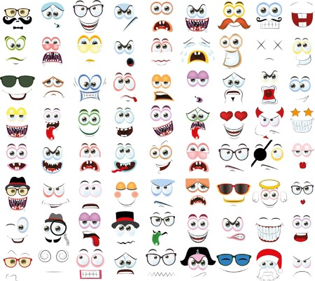laughs: Set of cartoon faces with different emotions