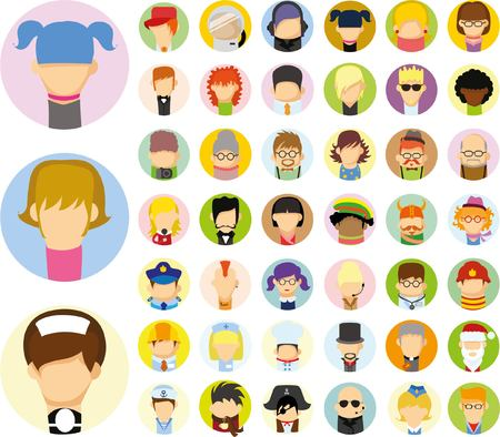 Set of vector cute character avatar icons Illustration