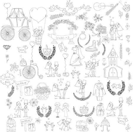 Doodle wedding set for invitation cards