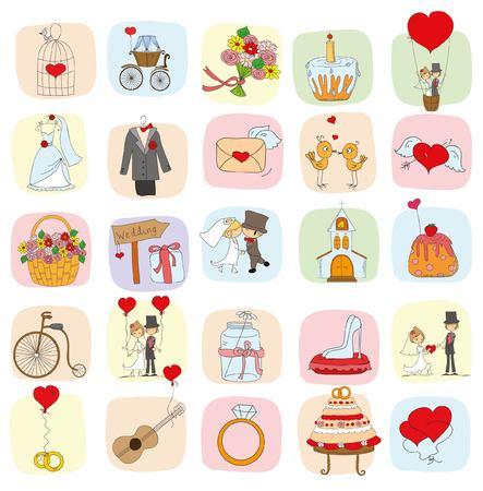 invitation cards: Doodle wedding set for invitation cards