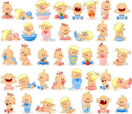 child sitting: illustration of baby boys and baby girls