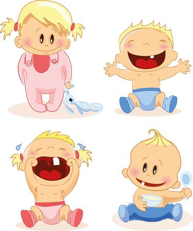 baby illustration: illustration of baby boys and baby girls