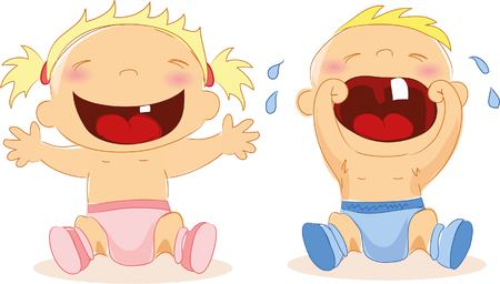 hysterical: illustration of baby boy and baby girl