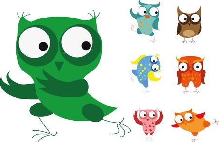 zoo youth: Set of vector cartoon birds - owls Illustration
