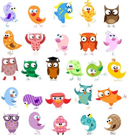 caricatura mosca: Conjunto de pájaros de la historieta