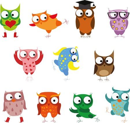 owl illustration: Set of cartoon birds
