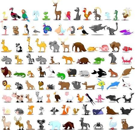 귀여운 만화 동물의 100 세트 일러스트