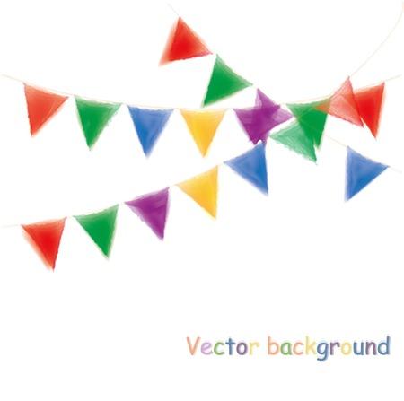 garlands: Multicolored watercolor buntings garlands