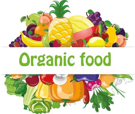 Cartoon vegetables and fruits Ilustração
