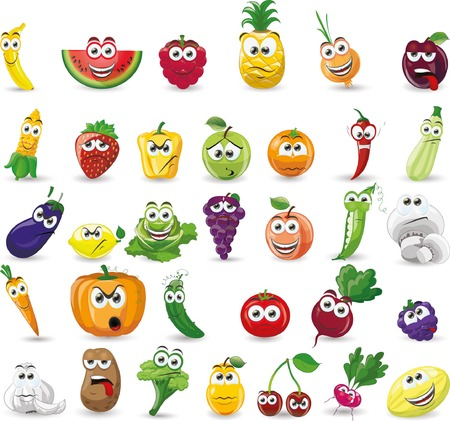 Cartoon vegetables and fruits Ilustracja