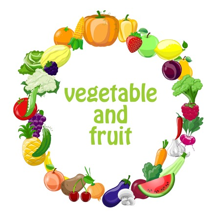 Cartoon vegetables and fruits background