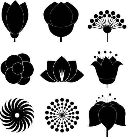 Flower icon collection - vector illustration Vectores