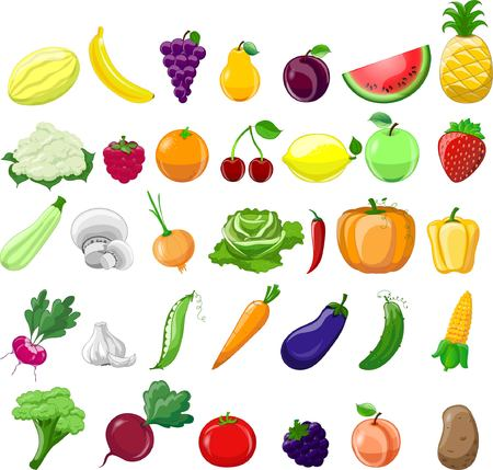 Cartoon vegetables and fruits Vectores