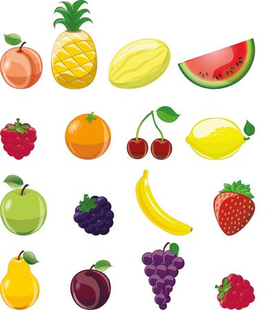 fruit juices: Cartoon fruits