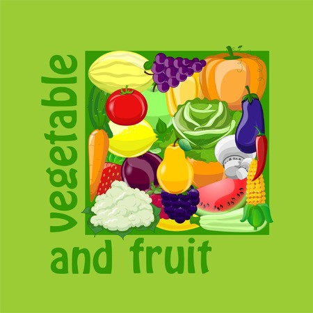 foursquare: Cartoon vegetables and fruits foursquare background Illustration