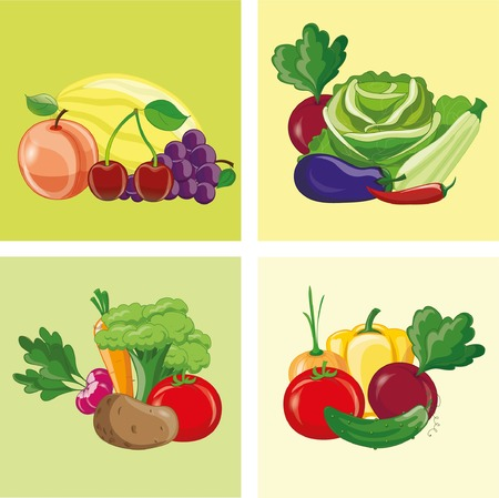 Cartoon vegetables and fruits icons