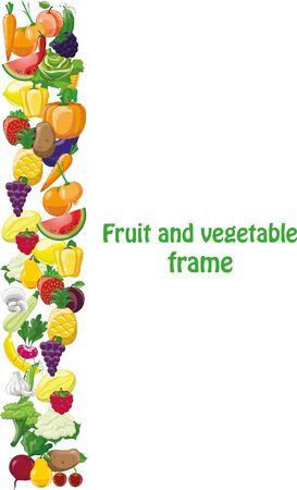 만화 야채와 과일 프레임 일러스트