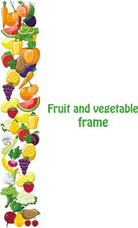 Cartoon vegetables and fruits frame