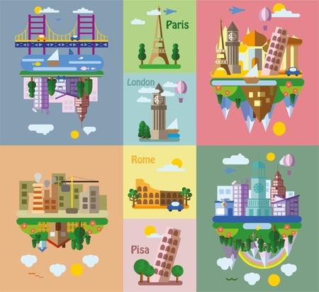 стиль жизни: Набор различных ландшафтов в плоском стиле - городской