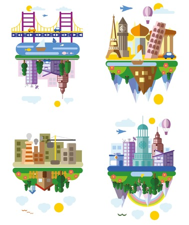 set symbols: Set of different landscapes in the flat style - urban Illustration
