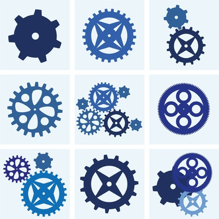 horologe: Vector gearwheel mechanism icon set Illustration